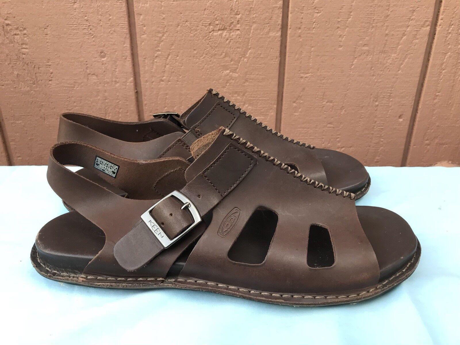 Raro usado en excelente estado Keen Para hombres Talla EE. UU. 10.5 Marrón Cuero Sandalia Zapato Puntera Abierta A5