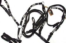 D.A. Brand Horse Size Black Nylon Bridle Set w/Breast Collar and Rawhide Accents