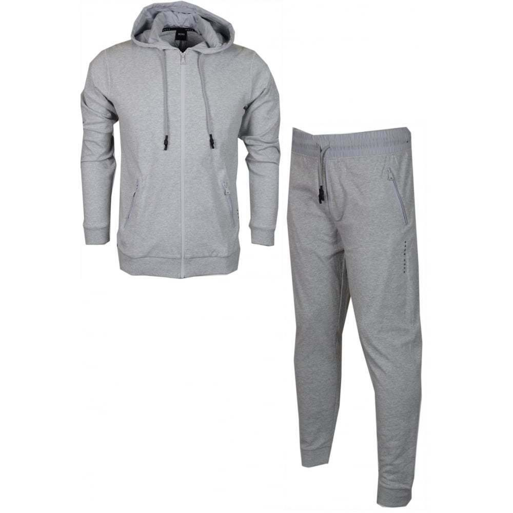Hugo Boss Cotton Slim Fit Thin Hooded grau Tracksuit