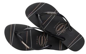 7091ce904 Havaianas Women`s Flip Flops Slim Logo Metallic Stripe Sandals Black ...