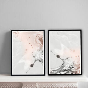 Home-Prints-A4-Pink-amp-Grey-Marble-Pattern-Gift-Wall-Art-NO-FRAME