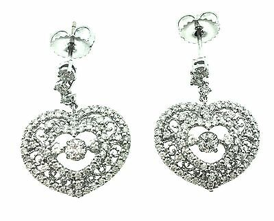 Diamond Drop Heart Earrings with Filigree in 18k White Gold - HM1664
