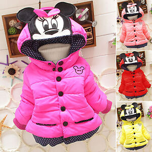 57c2c4172850 Baby Girls Toddler Kids Mickey Mouse Hooded Jacket Coat Winter Warm ...