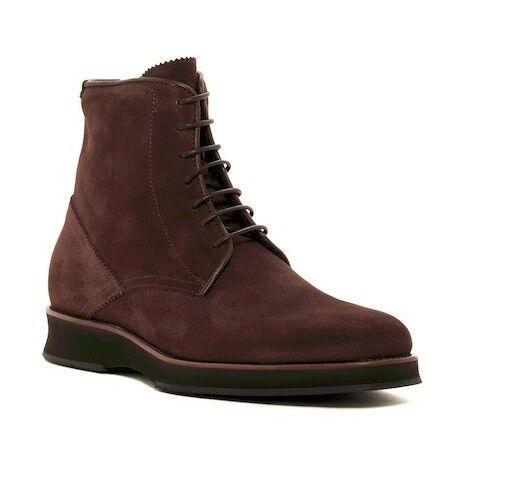 Aquatalia Gale Mid Rise Dark Brown Suede Weatherproof Boots Mens ITALY Rare