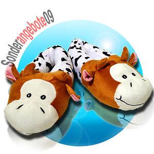 Hell Puschen Hausschuhe Plüsch Kuh Schuhe Plüschpuschen Tierpuschen Kühe Braunweiß Niedriger Preis