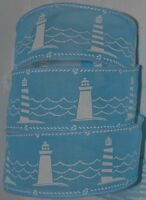 Wired Ribbon2.5blue Lighthousebeachoceannauticalwavywreathgiftbow