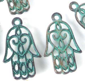 10 Tibetan Alloy Sea Horse Pendants Antique Bronze Green Charms Nickel Free 31mm