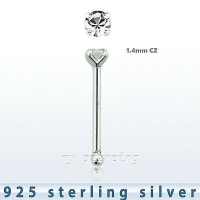 5Pcs 22G 9 mm 925 Sterling Silver 4mm Multi Color Stone Flower Straight Nose Pin