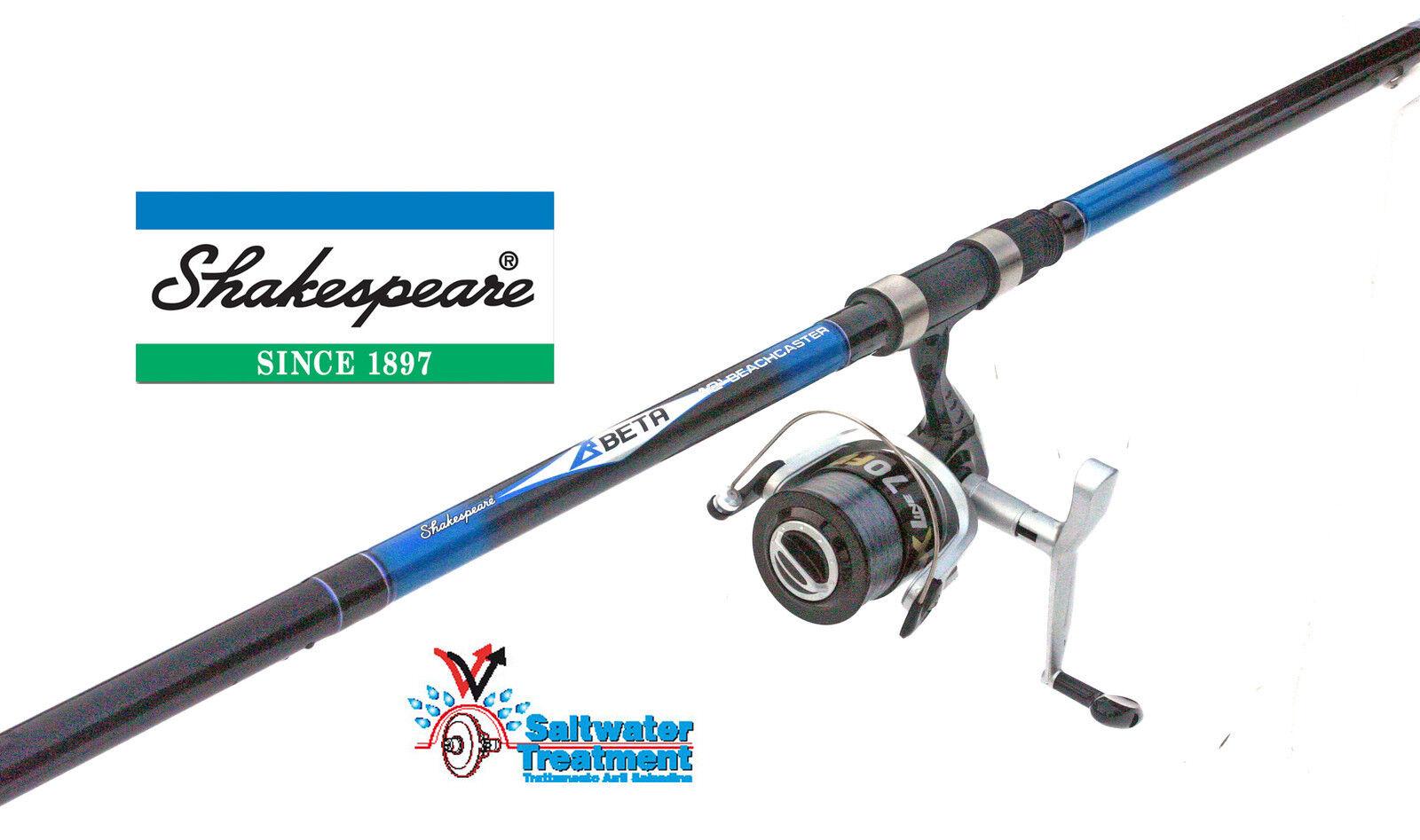 Shakespeare Beta Beachcaster rod & SX70 Reel + LINE  in 10ft or 12ft models