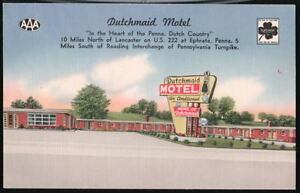 EPHRATA-PA-Dutchmaid-Motel-US-222-Vtg-Linen-Postcard