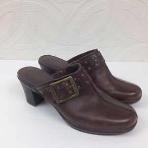 Womens-CLARKS-Bendables-Brown-Leather-Block-Heel-Mules-Clogs-Slip-On-Shoes-Sz-7M