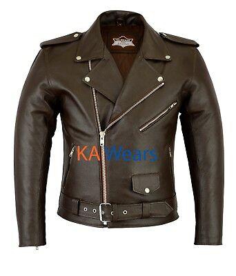 Men Leather Brando Jacket Biker Classic Motorbike Motorcycle Vintage Perfecto
