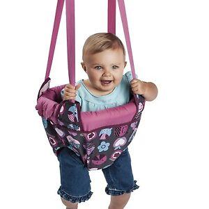 Evenflo ExerSaucer Door Jumper, Baby Swing Pink Bumbly Jump Up Doorway Bouncer