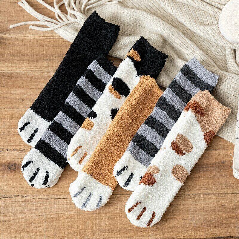 US Women Winter Fluffy Fuzzy Warm Slipper Socks Cute Meow Ca