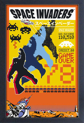 SPACE INVADERS BLUE GAME OVER VIDEO GAME 13x19 FRAMED GELCOAT POSTER ATARI ICON!