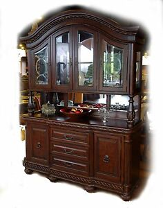 large mahogany cherry lighted china cabinet buffet ebay rh ebay com china cabinet with buffet table