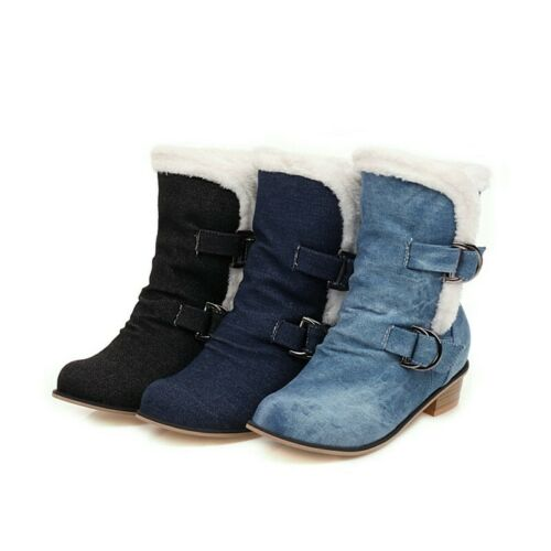 Details about  /New Women Ankle Boots Warm Lined Buckle Low Heel Round Toe Pumps 44//48 Comfort D