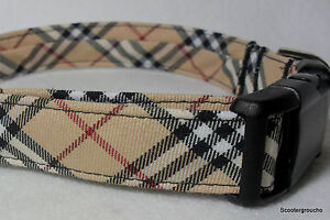 Classic-Check-Plaid-Handcrafted-Dog-Collar-Great-Look-Free-Shipping-USA