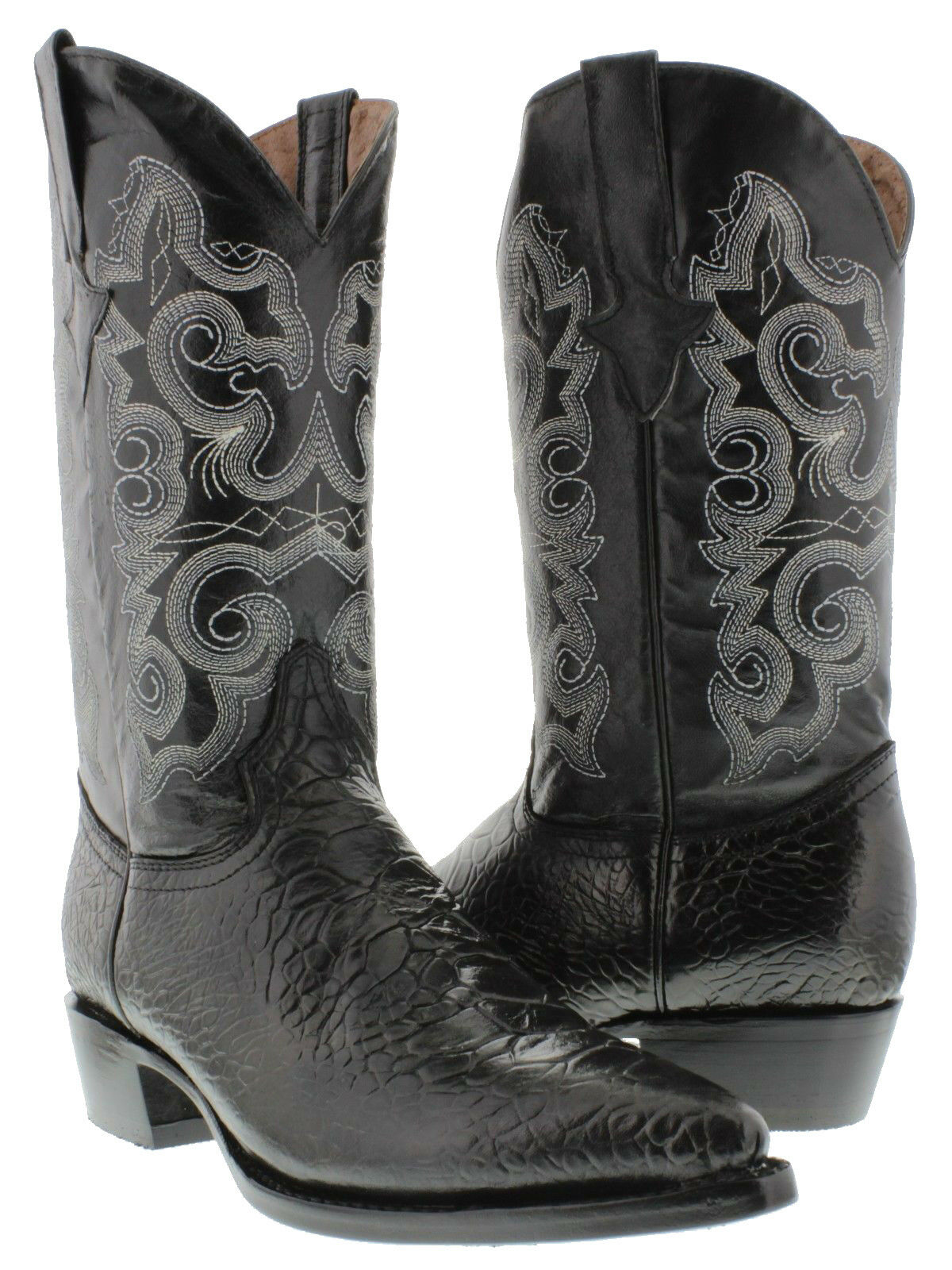 Mens Black Turtle Print Western Cowboy Exotic Leather Team West Rodeo Boots