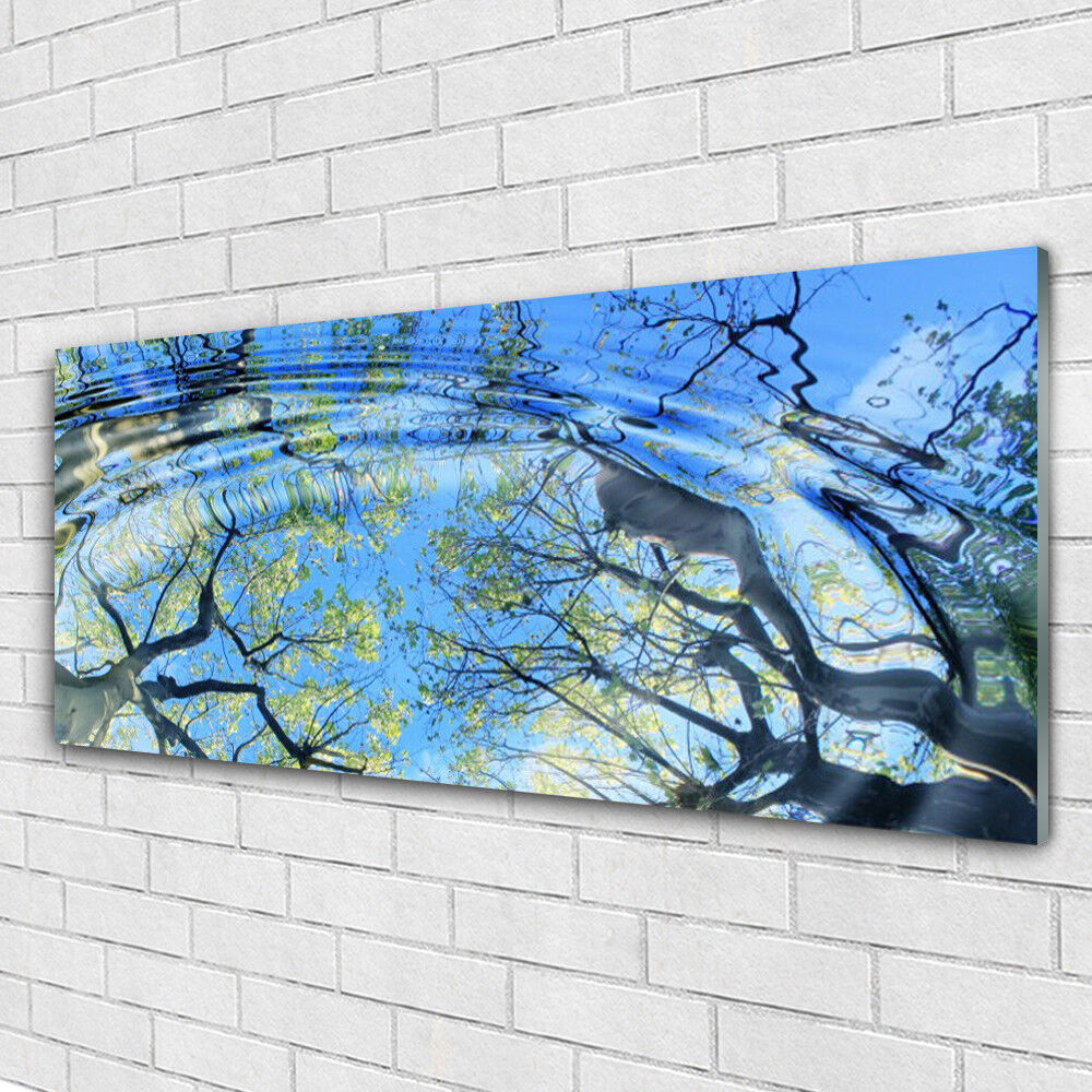 Verre Imprimer Wall Art Image 125x50 photo Eau Arbres Art