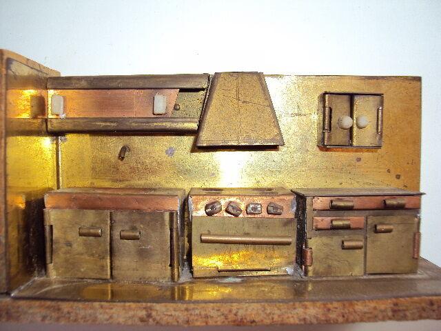 Ancienne miniature cuisine artisanale cuivre et laiton