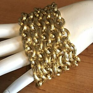 Anne-Klein-5-Strand-Toggle-Bracelet-Gold-Tone-Textured-Links-Chunky-Statement