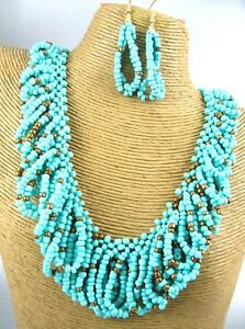 Gorgeous-Deep-Color-Beads-Metal-Necklace-Earring-Set-Costume-Fashion-Jewelry