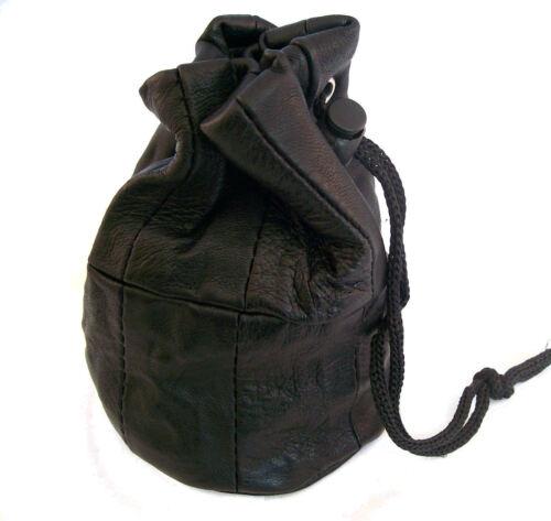 Qualité Noir Cuir Pochette avec cordon de serrage poignet Dolly Sac Porte-monnaie Small Change
