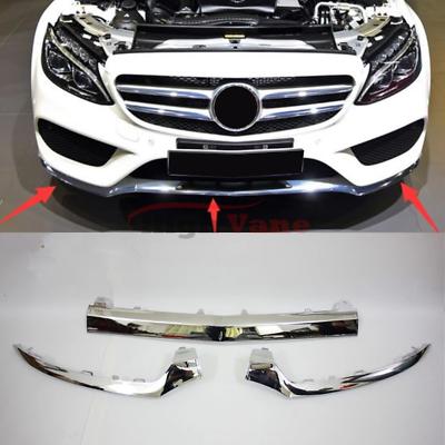 x2 Front Bumper Chrome Trim Molding for Mercedes W205 C300 C350 C200 2014-2017