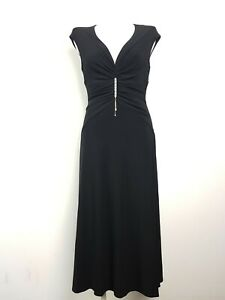 Vintage-MR-K-Black-Diamante-Gathered-Ruched-Midi-Cocktail-Dress-Women-039-s-Size-10
