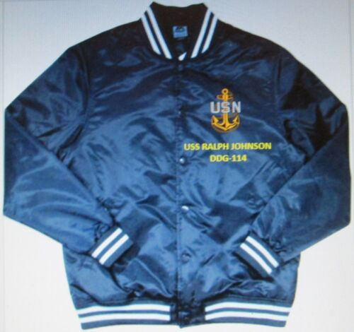 USS RALPH JOHNSON  DDG-114  NAVY ANCHOR EMBROIDERED 2-SIDED SATIN JACKET