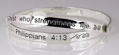 4030467 Christian Scripture Bangle Bracelet Religious Philippians 4:13 Bible
