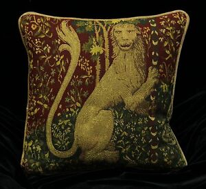 Decorative Tapestry Throw Pillows : DECORATIVE PILLOW COVER Medieval Tapestry Throw Cushion LARGE LION Sofa Scatter eBay
