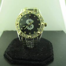 MONEY SIGN TWO TONE BLACK FACE SILVER LOGO HIP HOP CZ WATCH