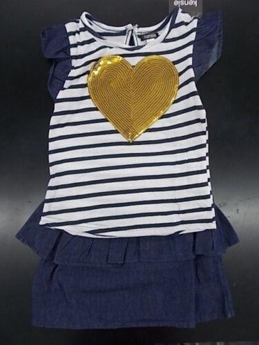 Girls Kensie $32 2pc Denim Blue /& White Shirt /& Skirt Set Size 4-6X