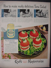 1951 Kraft Mayonnaise Tuna Salad Recipe Nice Color Vintage Print Ad 12326