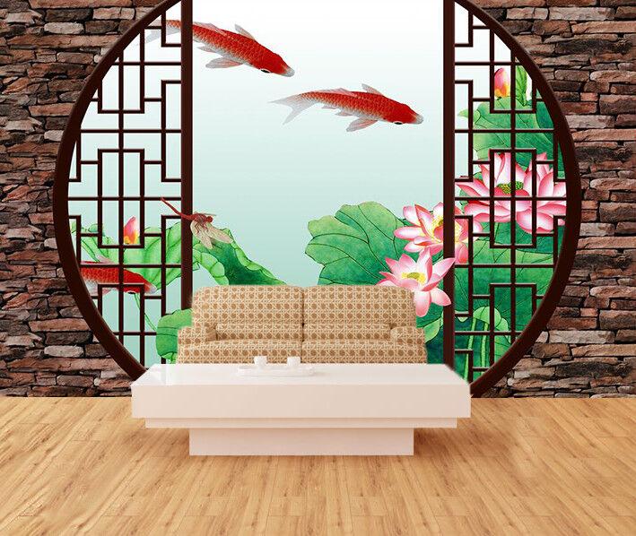 3D Lotus rot Fish 777 Wallpaper Mural Wall Print Wall Wallpaper Murals US Carly