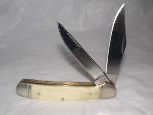 Rough Rider Bone Handle Trapper 2 Blade Pocket Knife 440