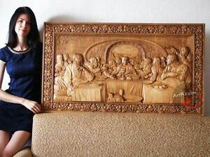Last supper d art orthodox wood carved religious icon large jesus
