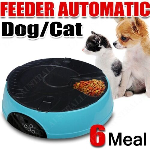 AUTO Dog Pet Feeder Dispenser Food Bowl Cat 6 Meal Automatic Program LCD Blue