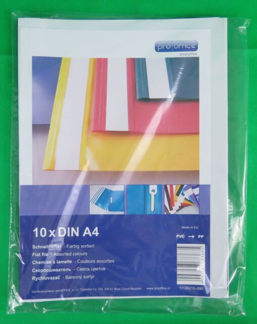 10 DIN A4 Schnellhefter Sichthefter aus Kunstoff oder Karton Farbig sortiert