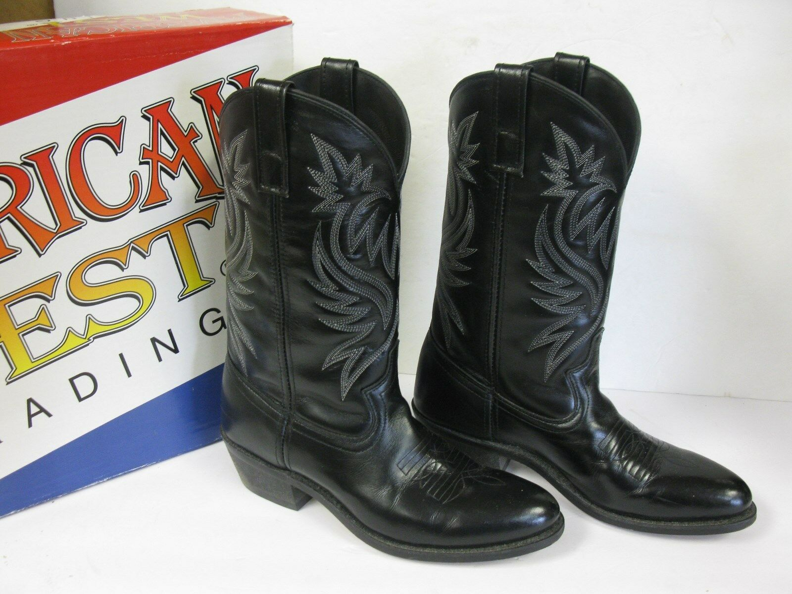 American West Trading 4210 Homme Noir London Bottes Western Taille 9.5EU