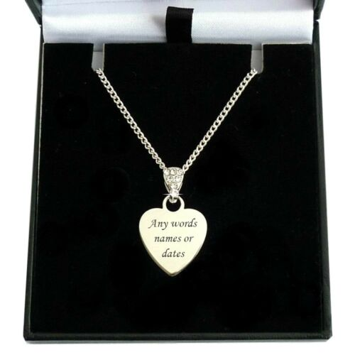 Crystal Bail Communion Necklace Engraved Heart First Holy Communion Jewellery
