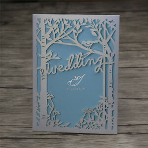 Details About Pearl Ivory Laser Cut Tree Bird Wedding Engagement Invitation Cards Free Print