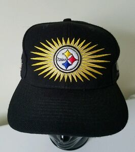 Pittsburgh-Steelers-4-Time-Super-Bowl-Champions-Sunburst-70-039-s-Vintage-Cap-Hat