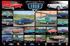 AMERICAN CARS OF THE 1950s 18 Classic Detroit Automobiles Historic WALL POSTER