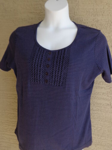 Being Casual Ribbed Cotton Blend  Buttoned Pleated Front Top 2X Navy striped