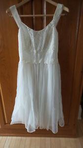Vintage-Shadowline-NYLON-amp-LACE-NIGHTGOWN-Dress-Sz-36-White-Nutcracker