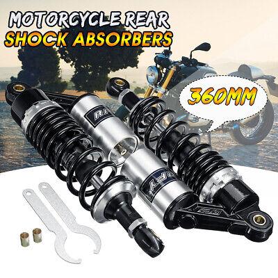 2 pieces Universal 360mm Spring 7mm Motorcycle Air Shock Absorber Rear Suspension ATV silver+black