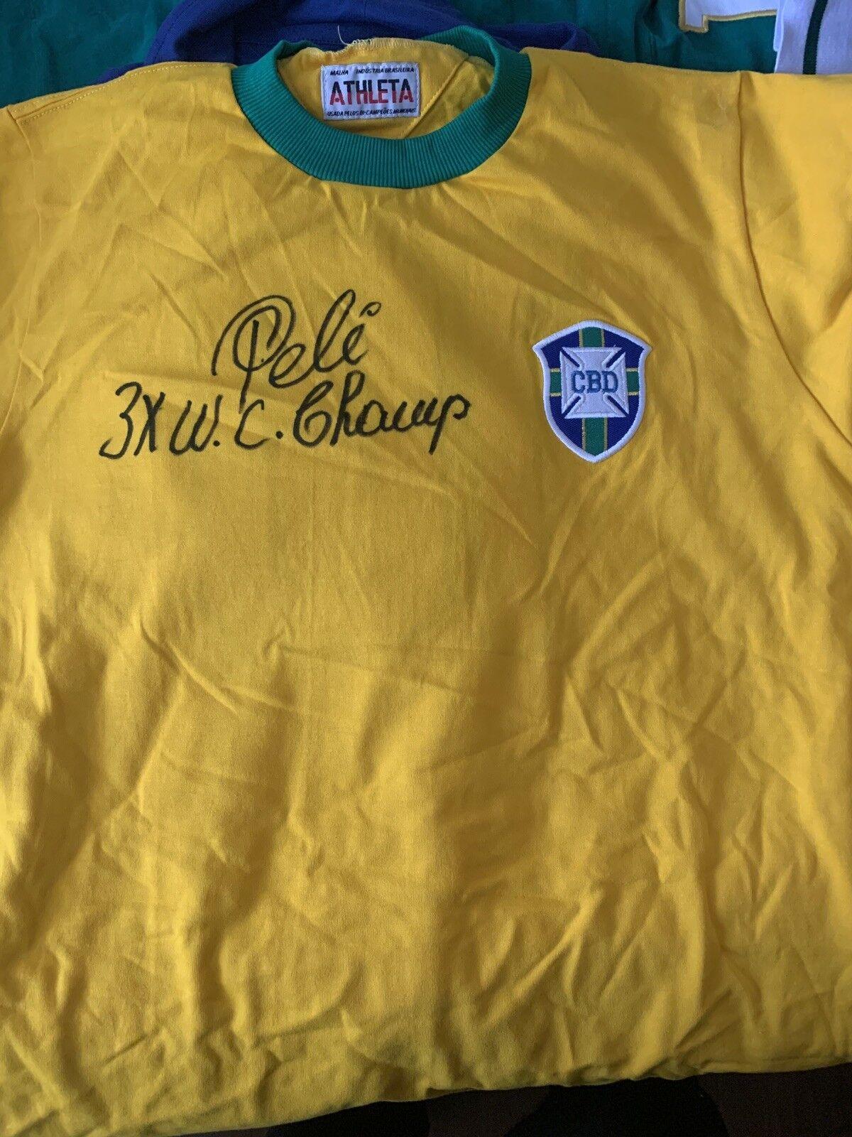 Molto RARO PELE inscritto Brazil shirt firmata PELE 3xwc Champ con il nostro COA